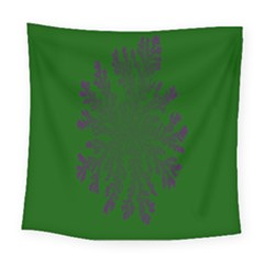 Dendron Diffusion Aggregation Flower Floral Leaf Green Purple Square Tapestry (large) by Mariart