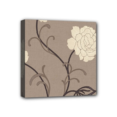 Flower Floral Black Grey Rose Mini Canvas 4  X 4  by Mariart