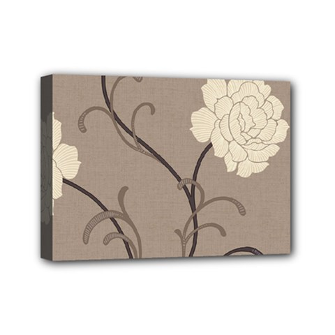 Flower Floral Black Grey Rose Mini Canvas 7  X 5  by Mariart