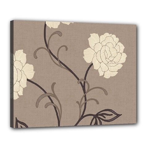 Flower Floral Black Grey Rose Canvas 20  X 16  by Mariart