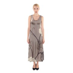 Flower Floral Black Grey Rose Sleeveless Maxi Dress by Mariart