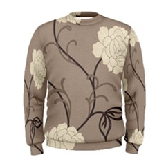Flower Floral Black Grey Rose Men s Sweatshirt by Mariart