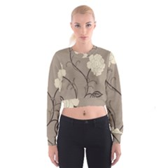 Flower Floral Black Grey Rose Cropped Sweatshirt by Mariart