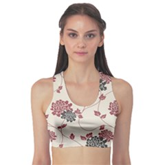 Flower Floral Black Pink Sports Bra by Mariart