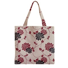 Flower Floral Black Pink Zipper Grocery Tote Bag by Mariart