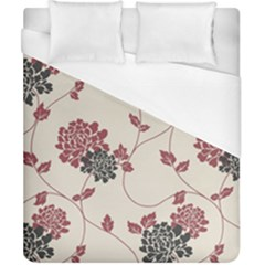 Flower Floral Black Pink Duvet Cover (california King Size) by Mariart