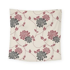 Flower Floral Black Pink Square Tapestry (small) by Mariart