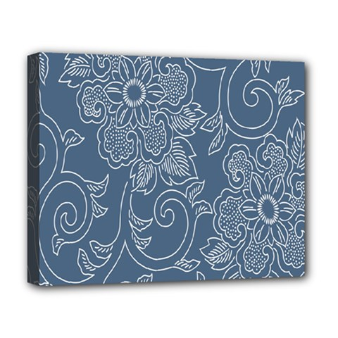 Flower Floral Blue Rose Star Deluxe Canvas 20  X 16   by Mariart