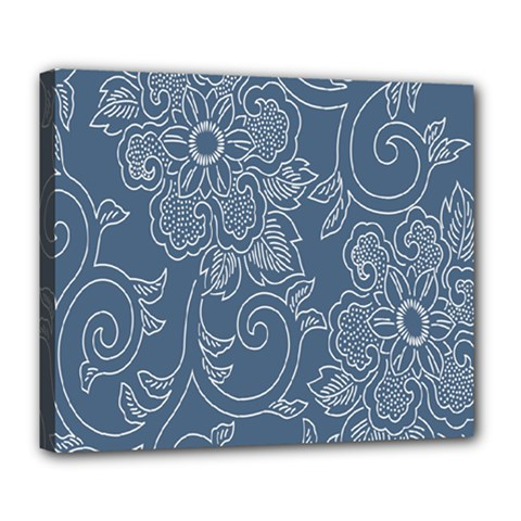 Flower Floral Blue Rose Star Deluxe Canvas 24  X 20   by Mariart