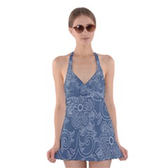 Flower Floral Blue Rose Star Halter Swimsuit Dress by Mariart