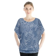 Flower Floral Blue Rose Star Blouse by Mariart