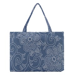 Flower Floral Blue Rose Star Medium Tote Bag