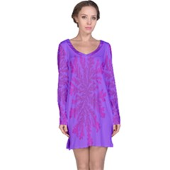 Dendron Diffusion Aggregation Flower Floral Leaf Red Purple Long Sleeve Nightdress