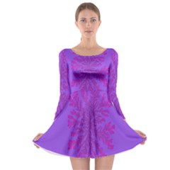 Dendron Diffusion Aggregation Flower Floral Leaf Red Purple Long Sleeve Skater Dress by Mariart