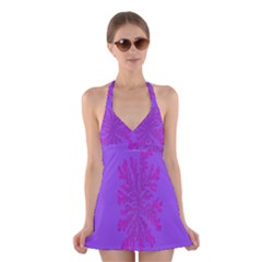 Dendron Diffusion Aggregation Flower Floral Leaf Red Purple Halter Swimsuit Dress by Mariart