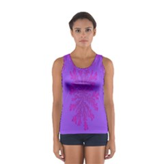 Dendron Diffusion Aggregation Flower Floral Leaf Red Purple Women s Sport Tank Top  by Mariart