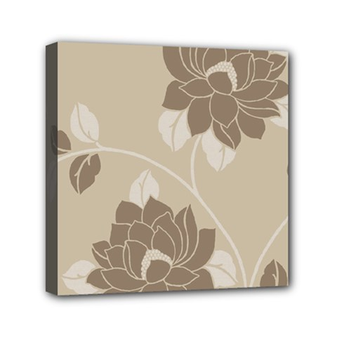 Flower Floral Grey Rose Leaf Mini Canvas 6  X 6