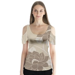 Flower Floral Grey Rose Leaf Butterfly Sleeve Cutout Tee