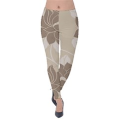Flower Floral Grey Rose Leaf Velvet Leggings