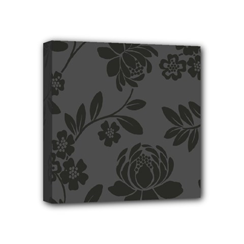 Flower Floral Rose Black Mini Canvas 4  X 4  by Mariart