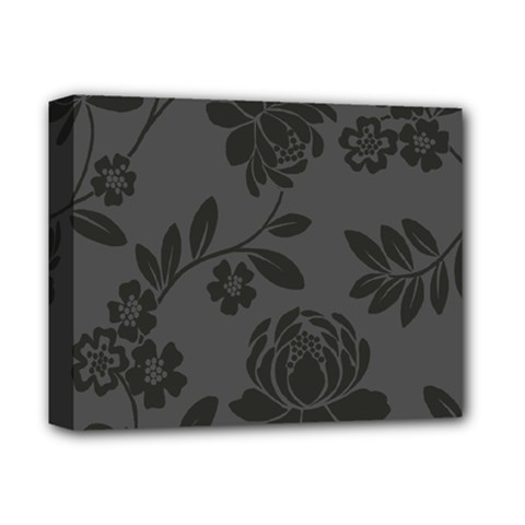 Flower Floral Rose Black Deluxe Canvas 14  X 11  by Mariart