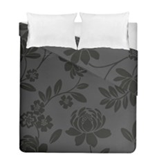 Flower Floral Rose Black Duvet Cover Double Side (full/ Double Size) by Mariart