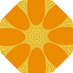 Greek Ornament Shapes Large Yellow Orange Folding Umbrellas by Mariart