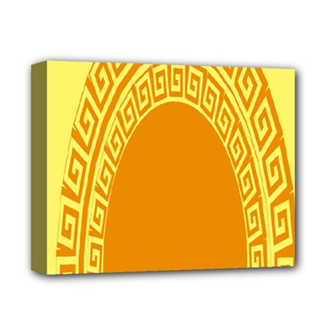 Greek Ornament Shapes Large Yellow Orange Deluxe Canvas 14  X 11  by Mariart