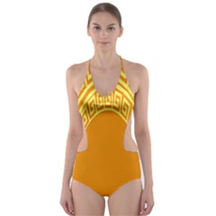 Greek Ornament Shapes Large Yellow Orange Cut Out One Piece Swimsuit