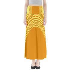 Greek Ornament Shapes Large Yellow Orange Maxi Skirts by Mariart
