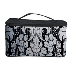 Flower Floral Grey Black Leaf Cosmetic Storage Case by Mariart
