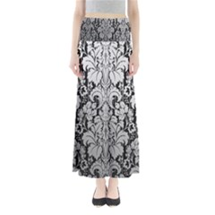 Flower Floral Grey Black Leaf Maxi Skirts by Mariart