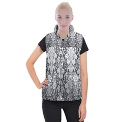 Flower Floral Grey Black Leaf Women s Button Up Puffer Vest by Mariart