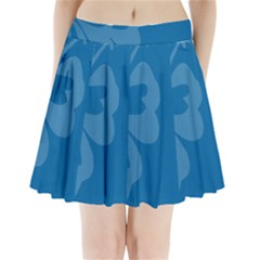 Hibiscus Sakura Classic Blue Pleated Mini Skirt by Mariart