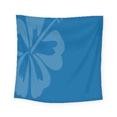 Hibiscus Sakura Classic Blue Square Tapestry (small) by Mariart