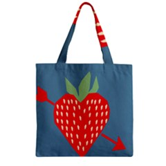 Fruit Red Strawberry Zipper Grocery Tote Bag by Mariart