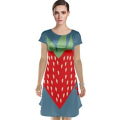 Fruit Red Strawberry Cap Sleeve Nightdress by Mariart