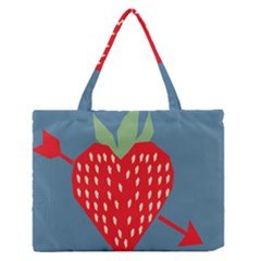 Fruit Red Strawberry Medium Zipper Tote Bag by Mariart