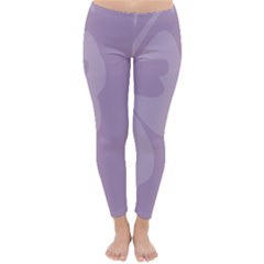 Hibiscus Sakura Lavender Herb Purple Classic Winter Leggings