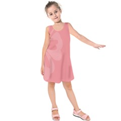 Hibiscus Sakura Strawberry Ice Pink Kids  Sleeveless Dress by Mariart