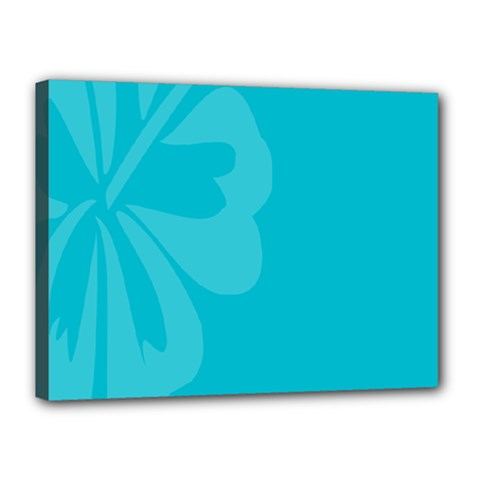 Hibiscus Sakura Scuba Blue Canvas 16  X 12  by Mariart