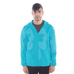 Hibiscus Sakura Scuba Blue Hooded Wind Breaker (men)