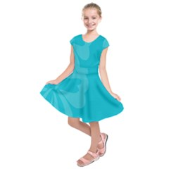 Hibiscus Sakura Scuba Blue Kids  Short Sleeve Dress by Mariart