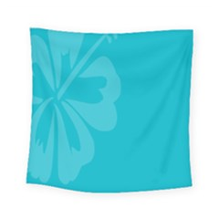 Hibiscus Sakura Scuba Blue Square Tapestry (small) by Mariart