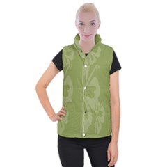 Hibiscus Sakura Woodbine Green Women s Button Up Puffer Vest by Mariart