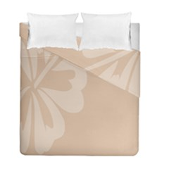 Hibiscus Sakura Toasted Almond Grey Duvet Cover Double Side (full/ Double Size) by Mariart