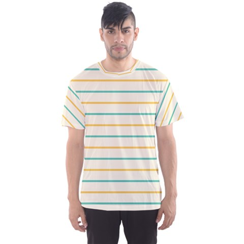Horizontal Line Yellow Blue Orange Men s Sport Mesh Tee by Mariart