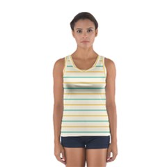Horizontal Line Yellow Blue Orange Women s Sport Tank Top  by Mariart