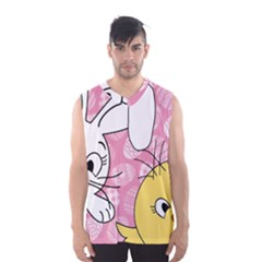 Easter Bunny And Chick  Men s Basketball Tank Top by Valentinaart