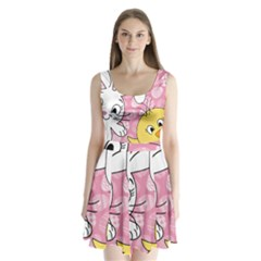 Easter Bunny And Chick  Split Back Mini Dress